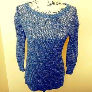 Lucky Brand open knit blue x stitch on back
